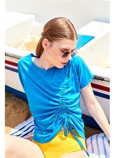 Latin Quarter Önü Büzgü Detaylı Supima® T-shirt Mavi